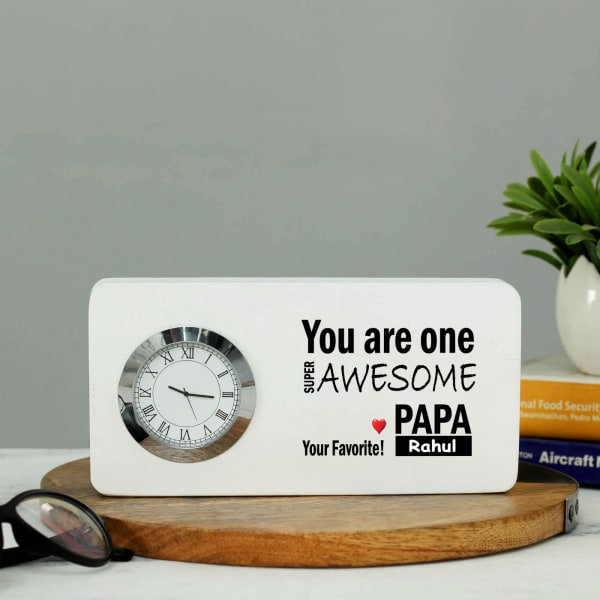 Personalized Papa Special Wooden Table Clock