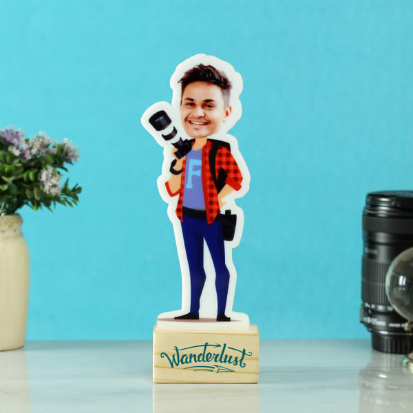 Personalized Photographer Caricature with Wooden Stand