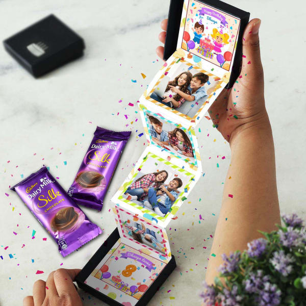 Personalized Pop-up Box with 2 Cadbury Chocolates for Birthday