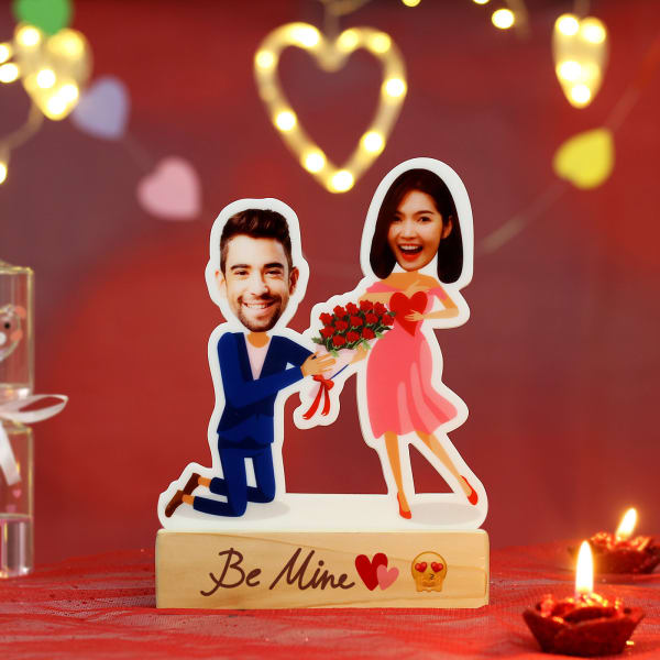 Personalized Proposal Caricature with Wooden Stand