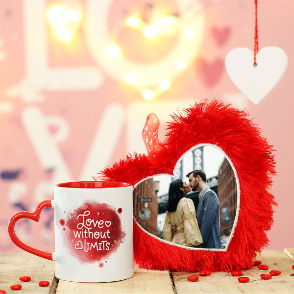 Personalized Red Heart Cushion with Heart-Handle Mug