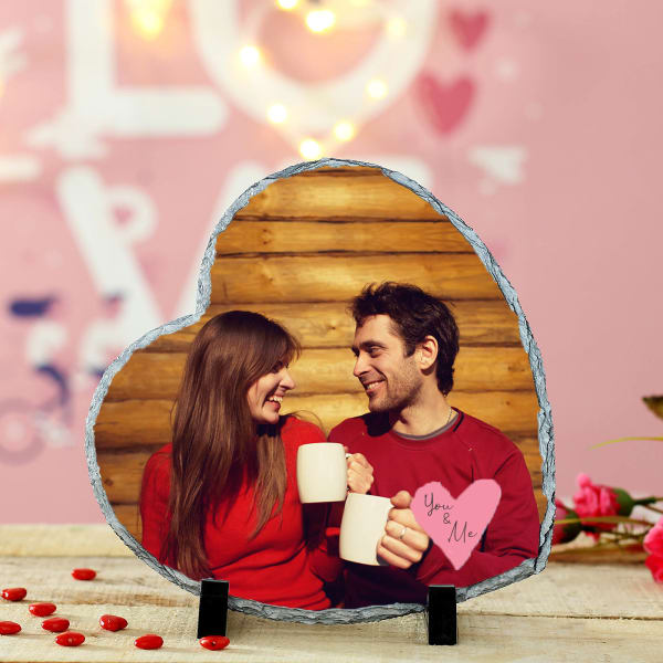 Personalized Rock Tile Heart Shape Photo stand