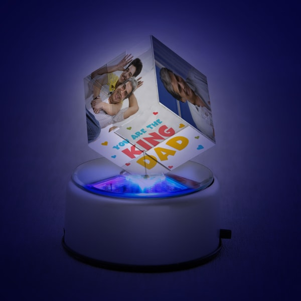 Personalized Rotating Crystal Cube with LED for Dad
