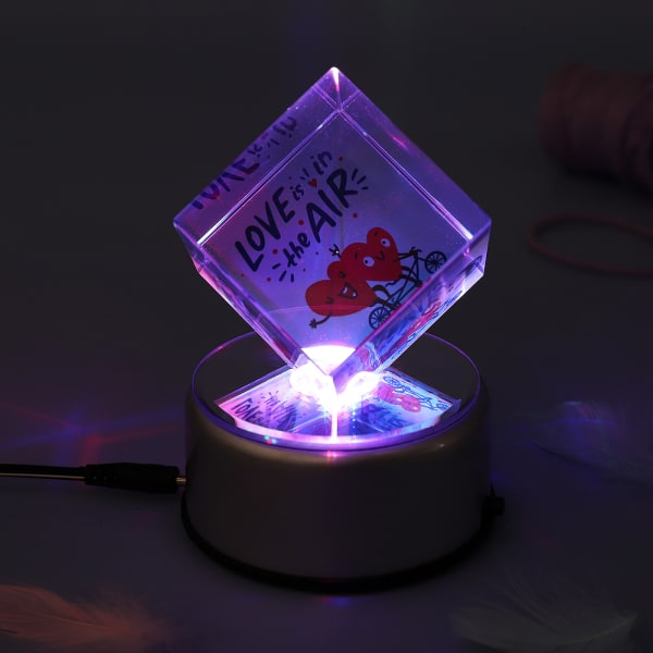 Personalized Rotating LED Cube with Love Message