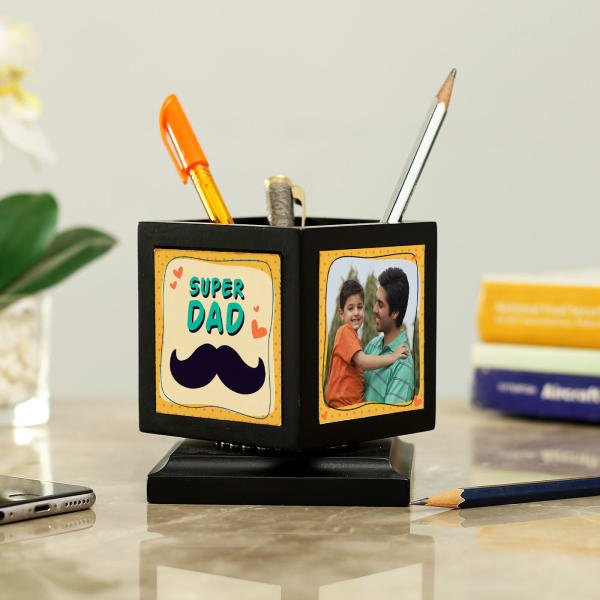 Personalized Rotating Photo Pen Stand for Dad