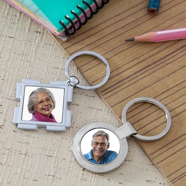 Personalized Round & Square Keychain Set