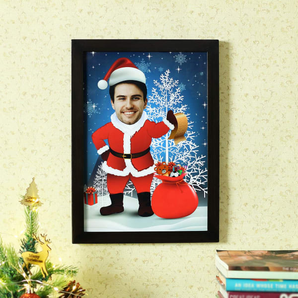 Personalized Santa Caricature A4 Photo Frame