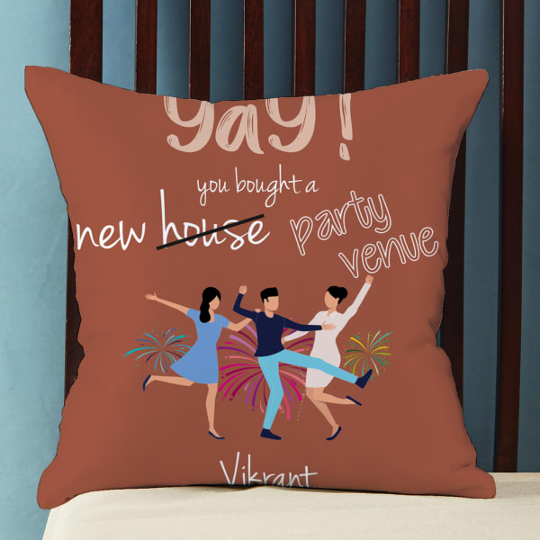 Personalized Satin Pillow for Housewarming