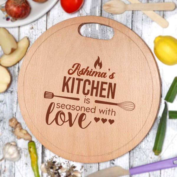 Personalized Seasoned with Love Chopping Board