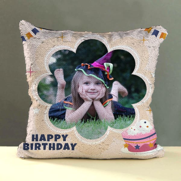 Personalized Sequin Birthday Pillow