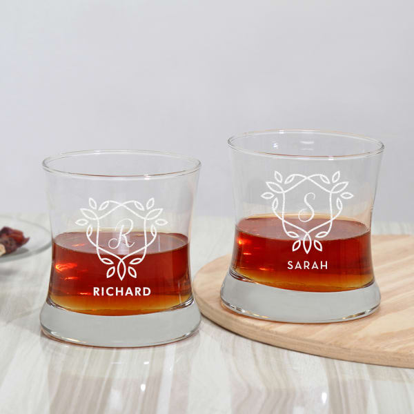 Personalized Set of 2 Whiskey Glasses