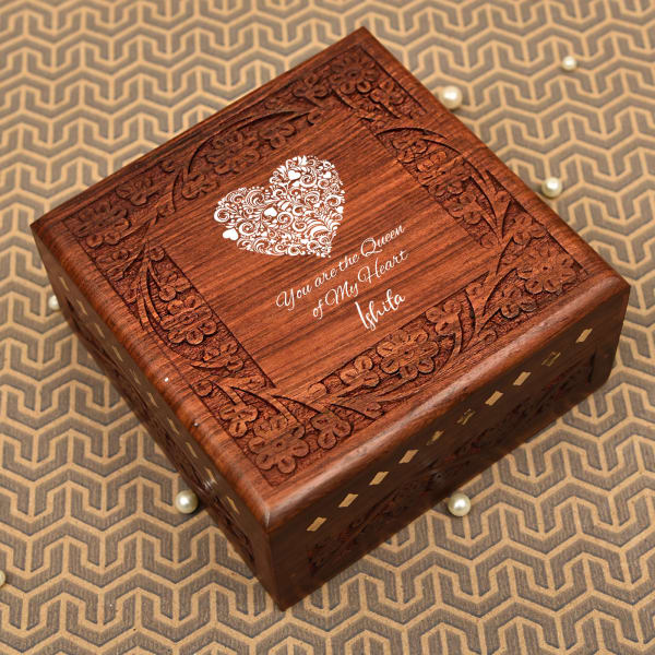 Personalized Sheesham Wood Jewellery Box with Love Message