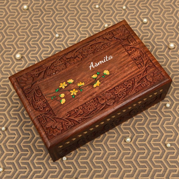Personalized Sheesham Wooden Box with Floral Motifs