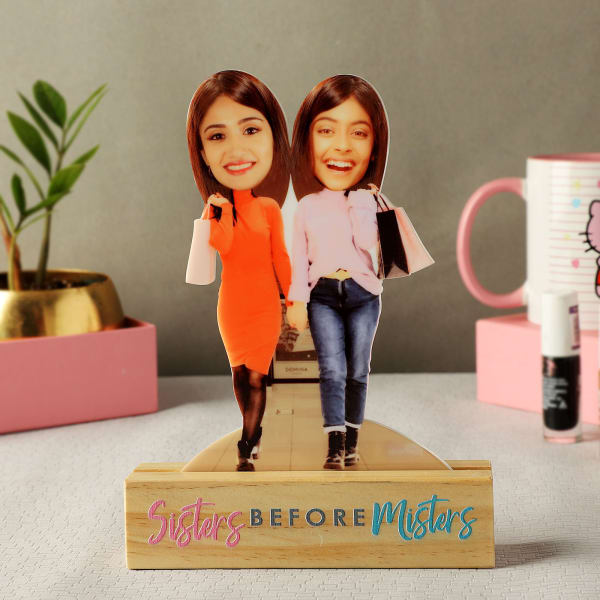 Personalized Shopaholic Caricature with Wooden Stand