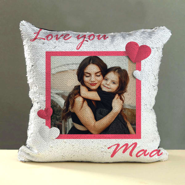 Personalized  Silver Sequin Cushion for Mom