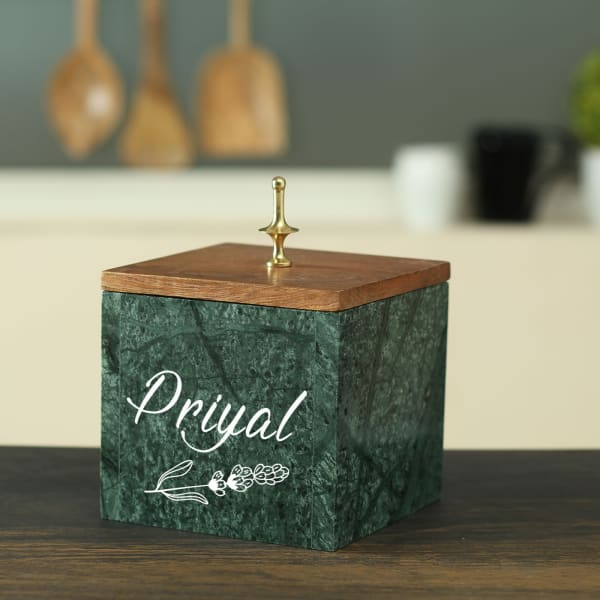 Personalized Square Shaped Marble Container with Wooden Lid