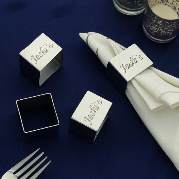 Personalized Square Silver Napkin Rings (Set of 4)
