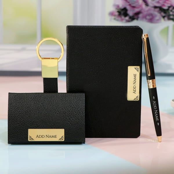 Personalized Stationery Gift Set in Black and Gold