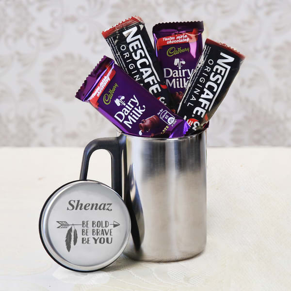 Personalized steel jar with chocolates & coffee