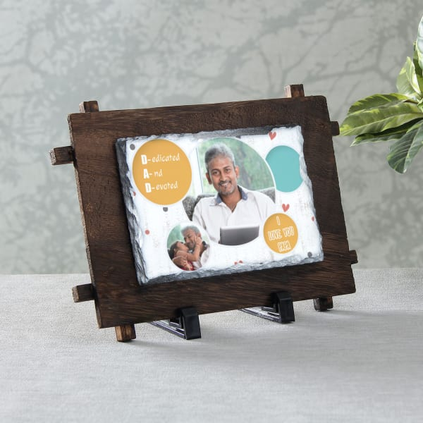 Personalized Stone Photo Frame for Dad