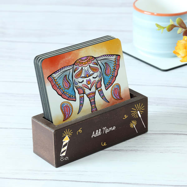 Personalized Traditional Elephant Design Coaster Set with Stand