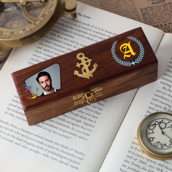 Personalized Vintage Nautical Boatswain's Pipe in Wooden Box