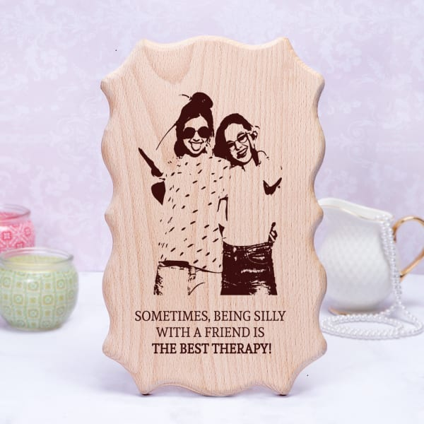 Personalized Wavy Wooden Plaque for Friend