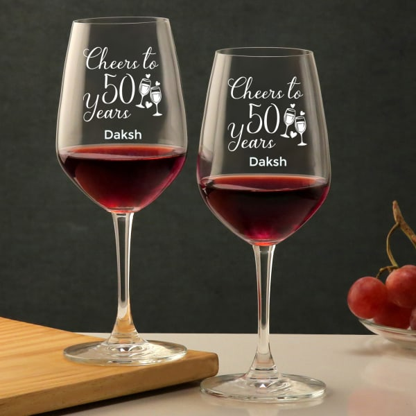 Personalized Wine Bordeaux Glass Set for Happy 50th