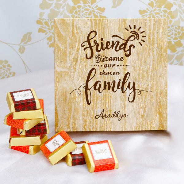 Personalized Wooden Box of Assorted Chocolates for Friends