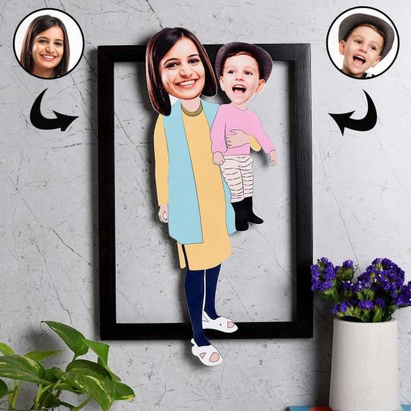 Personalized Wooden Caricature Photo Frame for Mom & Baby