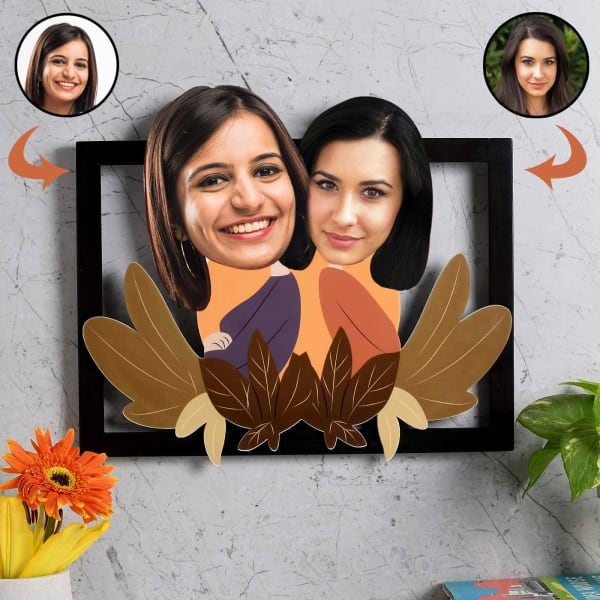 Personalized Wooden Caricature Photo Frame for Mother & Daughter