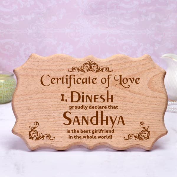 Personalized Wooden Certificate of Love
