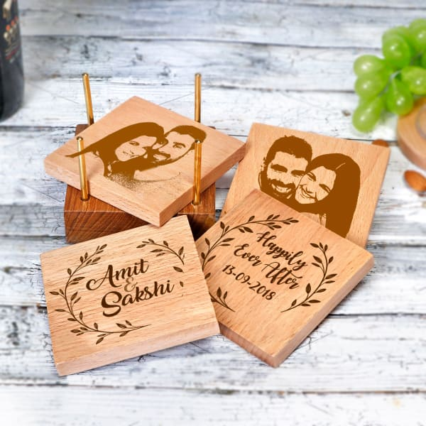 Personalized Wooden Coasters with Coaster Holder for Couples - Set of 4