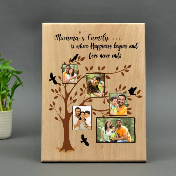 Personalized Wooden Photo Frame with Family Tree