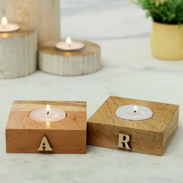 Personalized Wooden Tea Light Candle Set