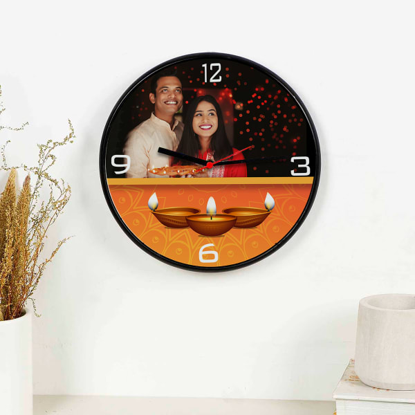 Personalized Wooden Wall Clock For Diwali