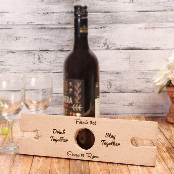 Personalized Wooden Wine Bottle Holder for Friend