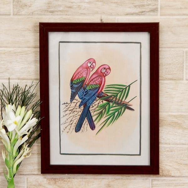 Petite Parrots Bird Silk Painting