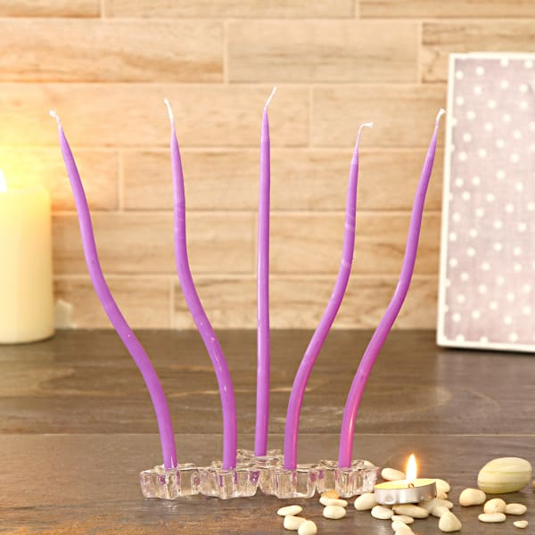 Pillar Candles Set of 5 with Glass Holder