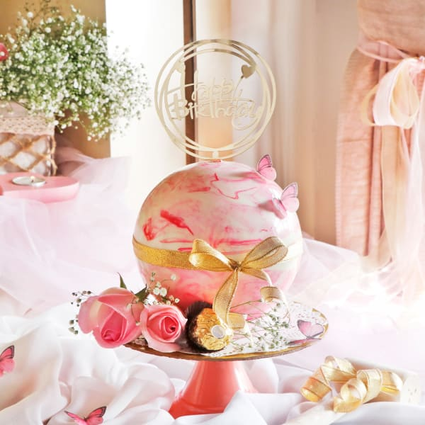 Pink Chocolate Pinata Ball Cake for Birthday (750 Grams)