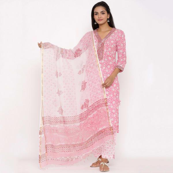 Pink Cotton Kurta Pant Dupatta Set