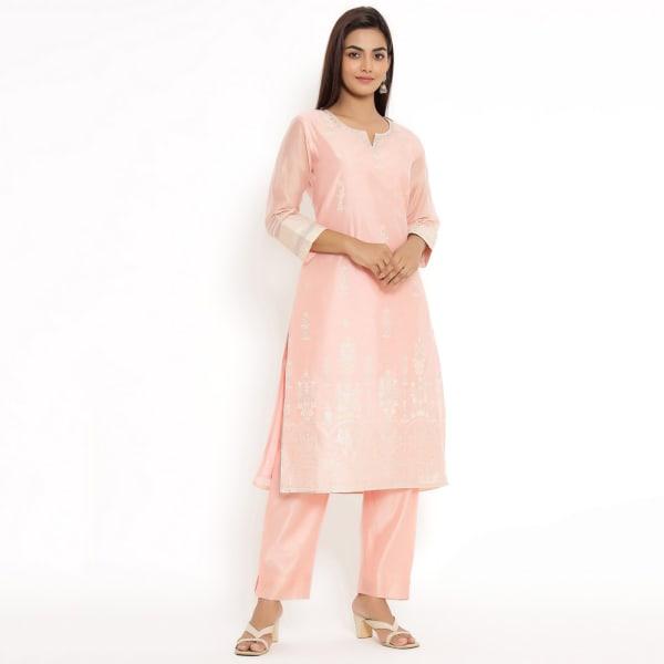 Pink Rayon Chanderi Kurta Pant Set