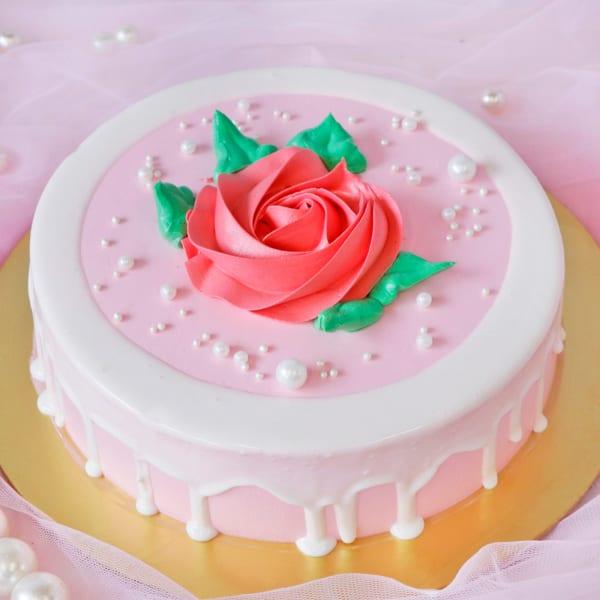 Pink Rose Chocolate Flavor Cake (Half Kg)