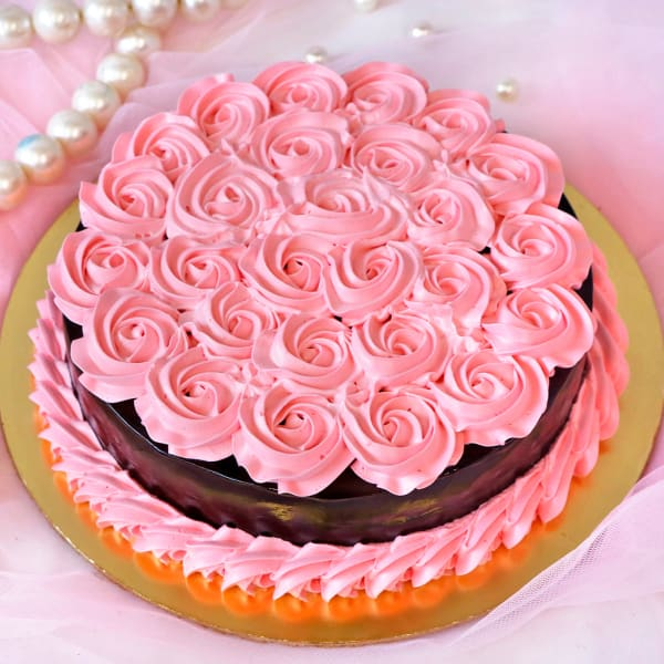 Pink Roses Chocolate Cake (1 Kg)