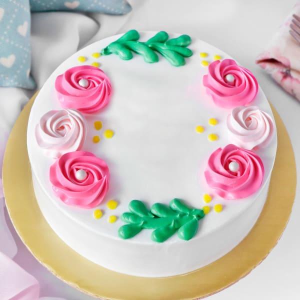Pink & White Creme Rose Decorated Chocolate Cake (1 Kg)