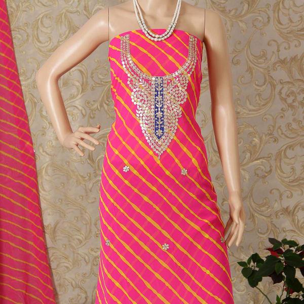 Pink & Yellow Leheriya Kurti Material with Gota Work