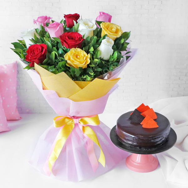 Pink Yellow Red & White Roses Arrangement with Chocolate Cake (Half Kg)