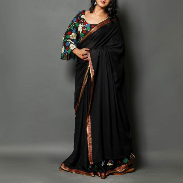 Plain Black Handloom Saree