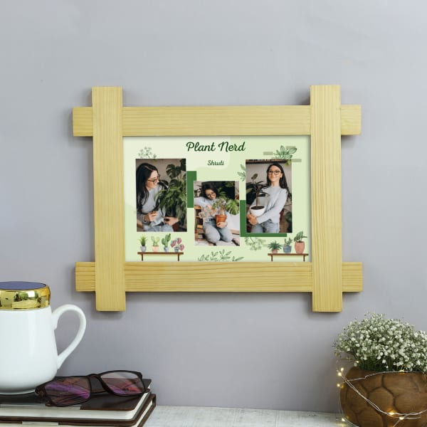 Plant Nerd Personalized Wooden Photo Frame