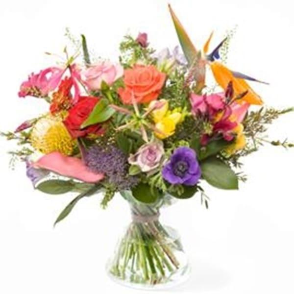 Polychrome bouquet, excl. vase